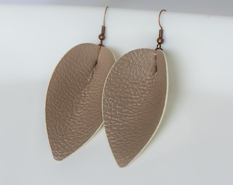 Beige Pinched Leather Earrings