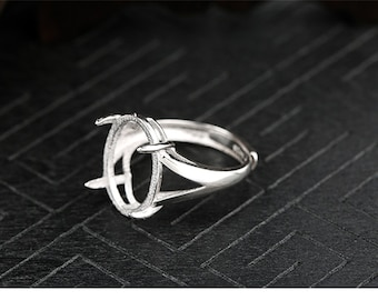 Claw and Pin Setting 84 One Piece White Gold Plated on S925 Sterling Silver Adjustable Ring Blank