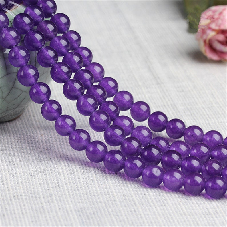 White Chalcedony Round Beads Strands CS030 4-14mm Natural Light Purple Light Blue Modena