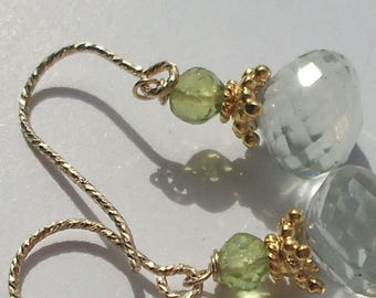 Earrings Prasiolite, green amethyst and Peridot
