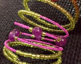 Wrap around bracelet with Amethyst beads