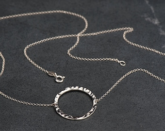 Sterling Silver Circular Hammer Finished Pendant