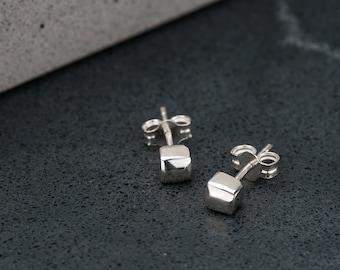 Sterling Silver Polished Tetragonal Studs