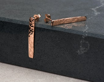 Rose Gold hammer Finished Earrings