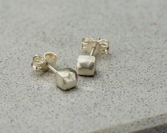 Sterling Silver Satin Tetragonal Studs