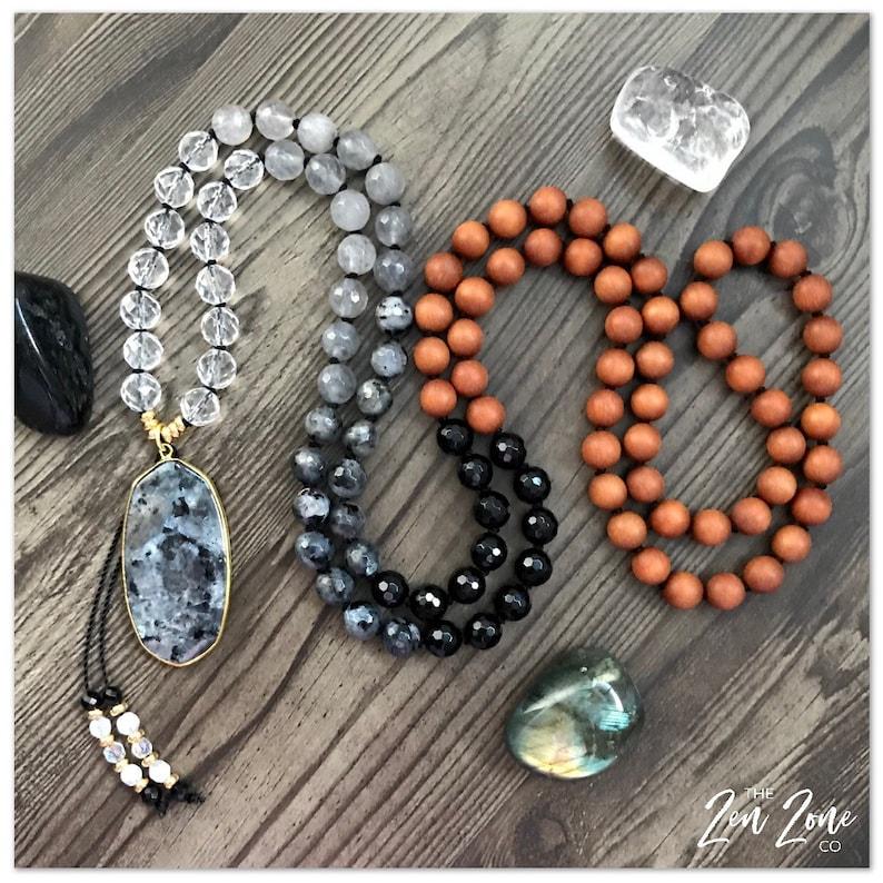 Ombr\u00e9 Moon Mala Japa Mala Clear Quartz Mala Spiritual Mala Mala Necklace Gemstone Mala Mala Beads 108 Mala 108 Beaded Necklace