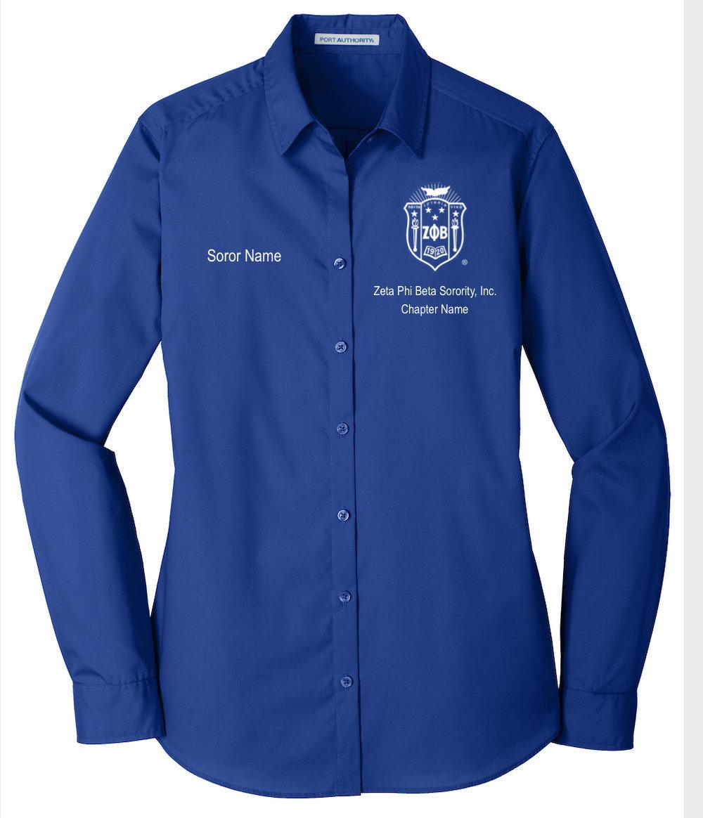 Zeta Phi Beta Sorority Inc blue and white stole or bow ribbon for blouse etc