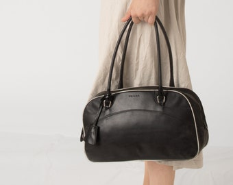 141beb82547f ... best price prada black bowler shoulder bag with white piping 84c1d 5a4b3