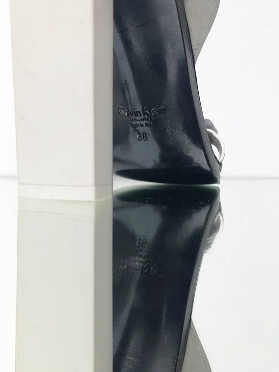 amp; cuir Klein hauts talons fourrure sculpturale Calvin des gqPwf68