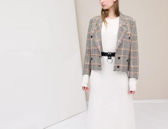 Valentino tartan light weight cropped wool jacket