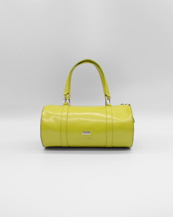Moschino Love Lime Green Hand Bag With Attachable