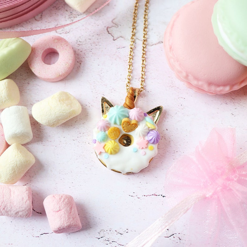 teen girl gift birthday gift girl pastel necklace Unicorn necklace polymer clay food jewelry necklace teen girl cute kawaii necklace