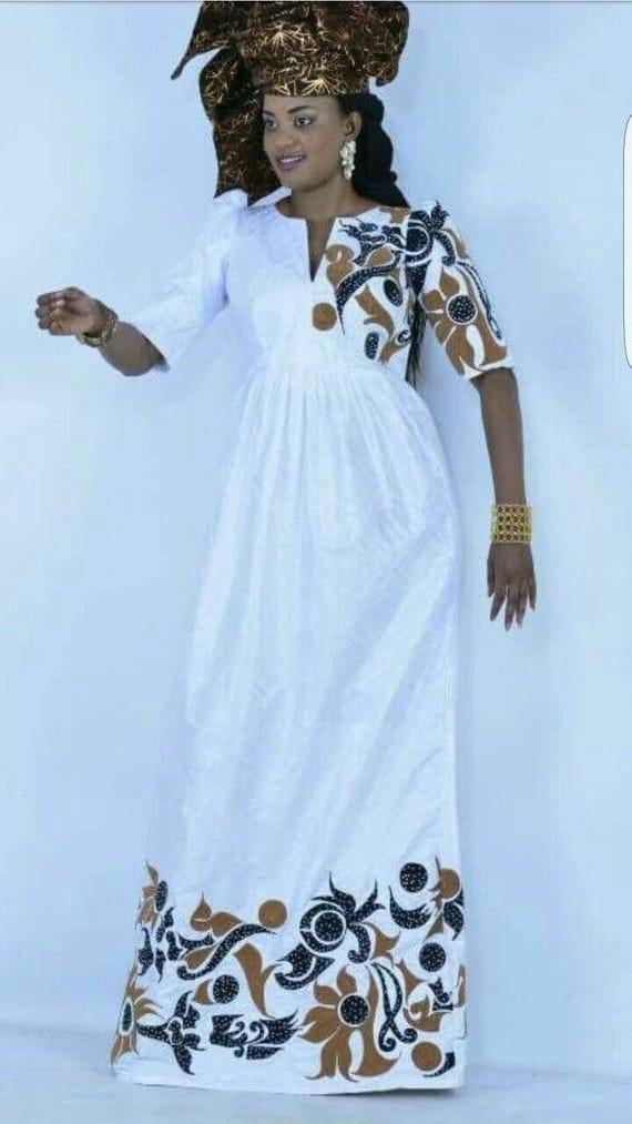 a757639a030d Robe de femme africaine bazin blanc