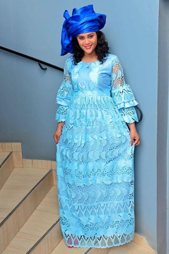 African women/'s clothing African style guipire lace African clothing African lace bazin dress guipire dress African design