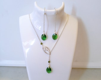 Swarovski Crystal Jewelry Set, Swarovski and Silver Jewelry Set, Swarovski Crystals Necklace and Earrings Set, Lariat Necklace and Earrings