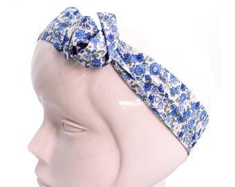 Blue liberty print wire headband