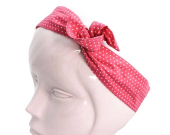 Pink wire headband with white polka dots