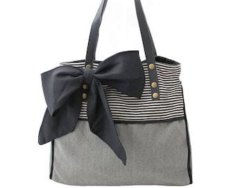 Handbag women light gray striped bow black