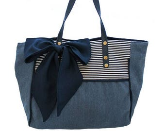 Tote bag women blue striped denim and blue bow
