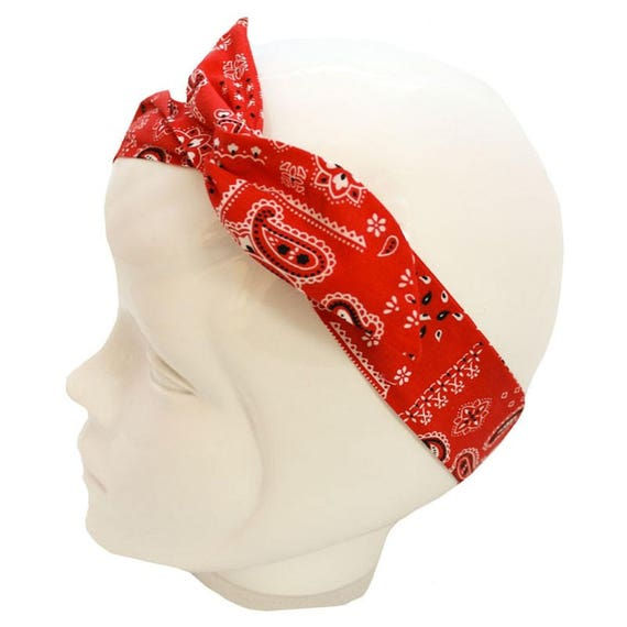 Red bandana pattern wire headband   bandana Headband    8ed1df45ea3