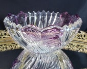 Vintage Lead Crystal Bowl, Anna Hutte Bleikristall, Lovely Purple Petals, Rippled Swirl Pressed Glass, Zig-Zag Rim, MCM Elegant Candy Dish