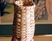 Vintage Wicker Wall Pocket Basket, Small Long Retro Wicker Wall Decor, Wall Wicker Plant Holder, Beige Basket w Handle for Hanging