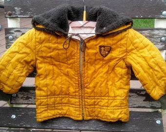 vintage toddler boys winter coat 60s jacket caramel brown size 2 little kids hooded jacket childrens coat fur hood unique - Christmas Story Bundled Up