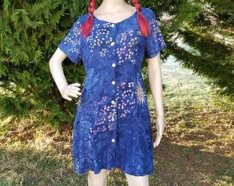 83f7385b1ef5 80s 90s Mini Dress, Blue Celestial Batik Print, Sun Moon Stars Design,  Button Down, Short Summer Dress, Tie Waist, Size M