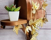 Vintage Decorative Wooden - Copper - Mailbox Wall Hanging with Metal Brass Leaves, Unique Plant Stand Wall Decor, Home Interior 70 39 s Decor