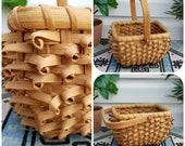 Unique Vintage Wicker Basket w Swing Handle, Beige Porcupine Curl Weave Small Woven Hand Basket, Wicker Plant Display, Wicker Scape