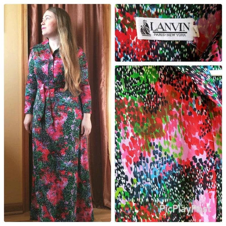 c2acfdc8 70s Maxi Shirt Dress Lanvin Designer Soft Lovely Impressionist | Etsy
