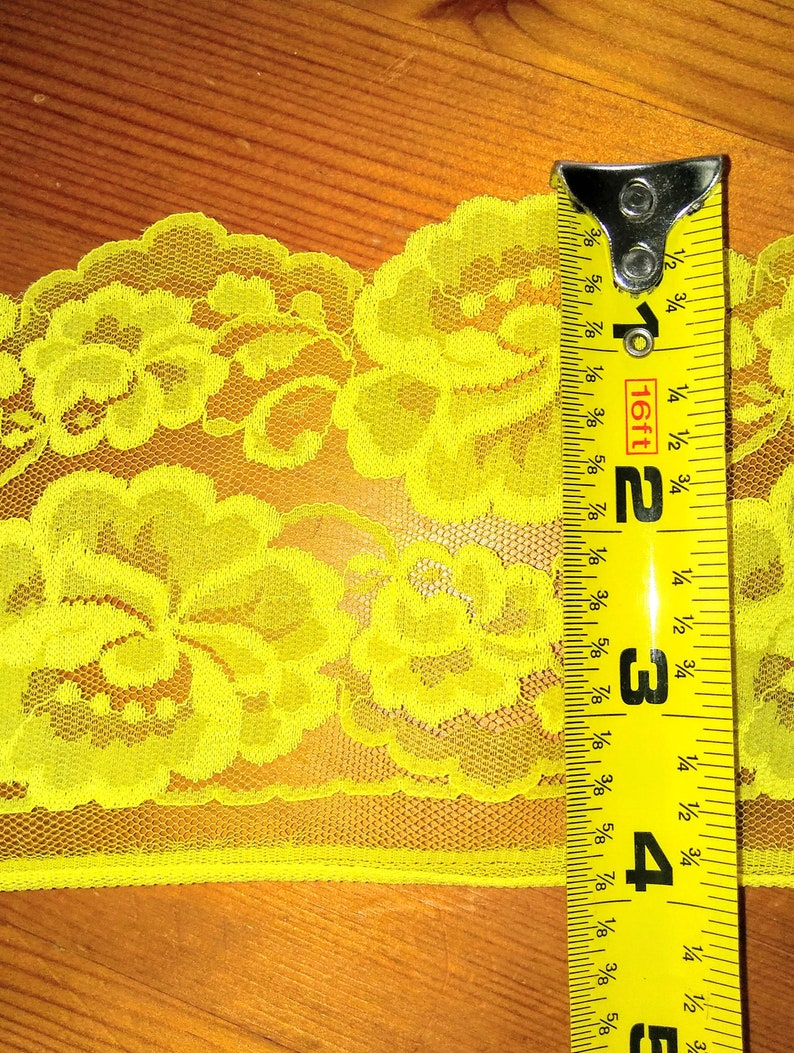 Lace Trim 4 Inches Wide 10 YARDS Ribbon Bright Yellow