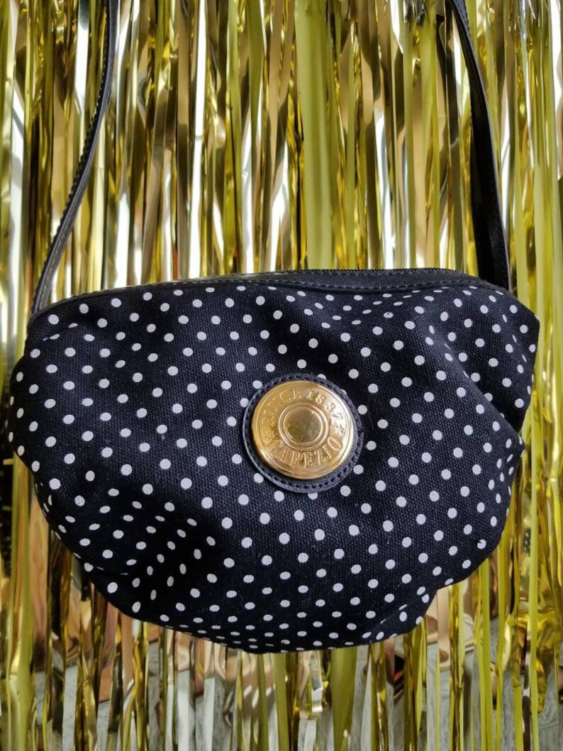 Gold Emblem 80s 90s Capezio Purse Small Puffy Canvas Handbag Black and White Polka Dot Print Crossbody Satchel