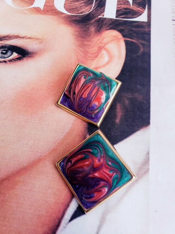 Collectible Stud Earrings Pink and Green Post Earrings Summer Earrings 1970s Stud Earrings Vintage Stud Earrings-Mothers Day