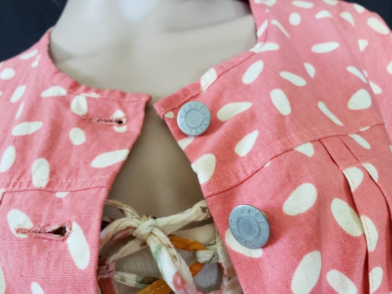 Size M Pockets Coral Pink with White Spots Lightweight Spring Coat 80s 90s Esprit Jacket Linen