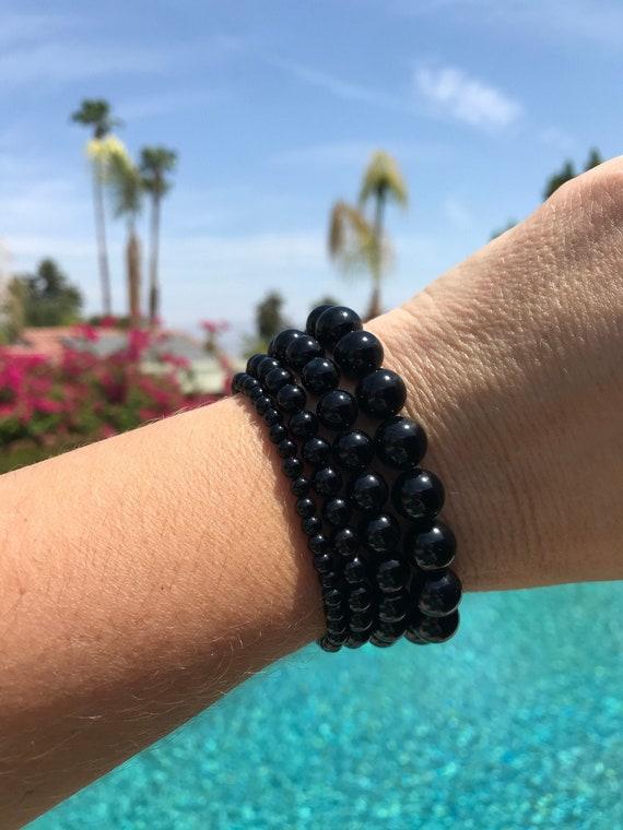 Effervescent B-4 Agata Genuine Moldavite Polished Beaded Bracelet