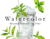 WATERCOLOR Mint Julep Clip Art - Southern Cocktail - Mint - Bourbon - Hand painted - Download - Kentucky Derby - Silver Cup - JPG PNG