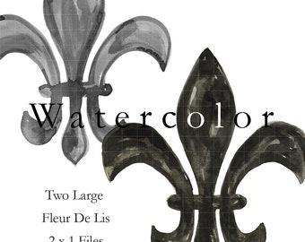 FLEUR DE LIS - Black and Gray Watercolor Digital Art. 300dpi files. Handmade.