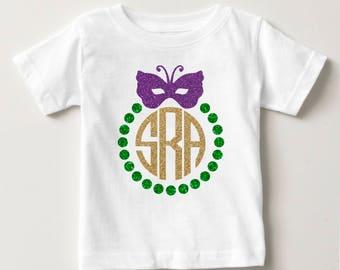 Glitter Monogram Mardi Gras T- Shirt - Personalized Mardi Gras Short Sleeve T-Shirt - New Orleans Shirt - Youth Mardi Gras T-Shirt