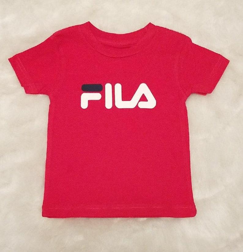 fcb13960da4d FILA inspired T-shirt fila shirts kids youth infants red   Etsy