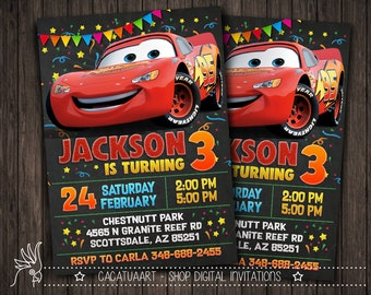Personalized Invitation Cars Movie Lightning McQueen Mater Sally Mack Doc Hudson 3 2 Party Birthday