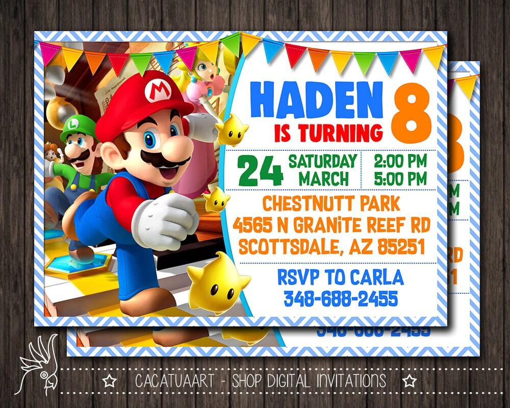 Super Mario White Invitation Super Mario Invitation Super Etsy