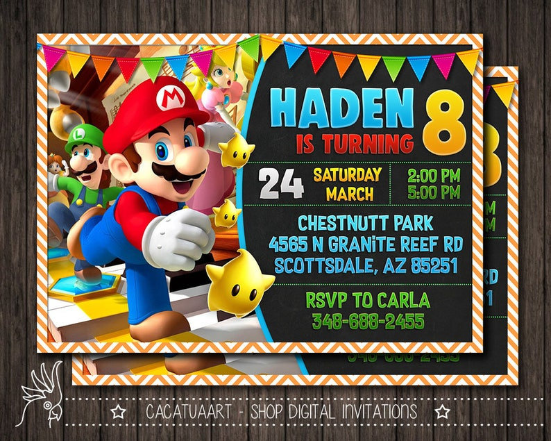 Super Mario Photo Invitation Mario Invitation Super Mario Birthday Party Invitation Mario Bros Invitation Luigi Yoshi Mario