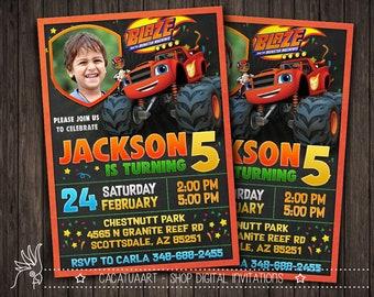 Blaze and the Monster Machines Invitation, Blaze and the Monster Machine Birthday, Party Invitations + photo
