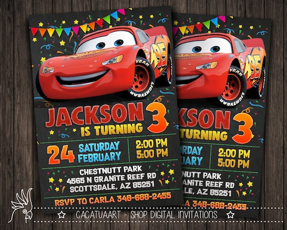 Personalized Invitation Cars Movie Lightning