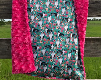 Youth Rustic Deer Patchwork Baby and Adult Sized Minky Blanket By The Handmade Heifer
