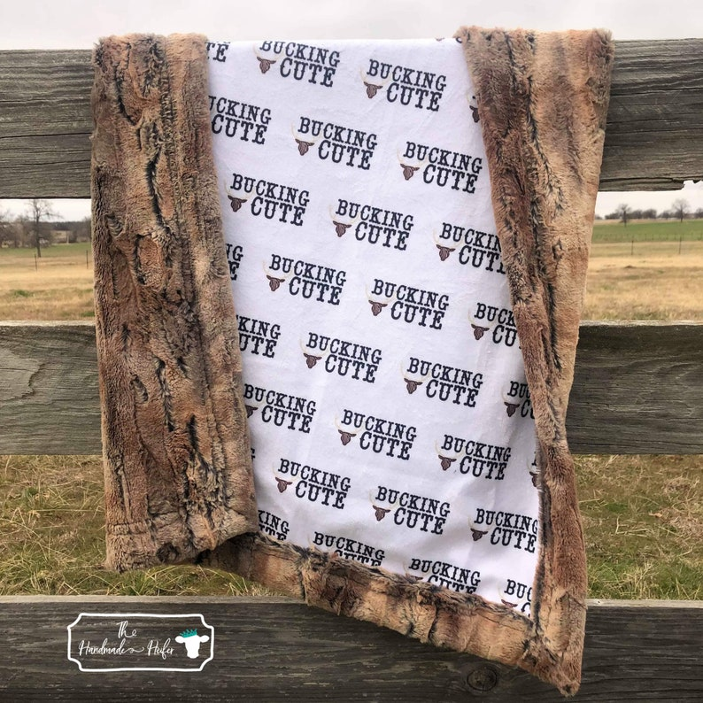 Bucking Cute with Red Fox Minky Baby and Youth Baby Blanket By The Handmade Heifer