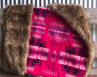 Authentic Pendleton Wool Upcycle By The Handmade Heifer with Faux Fur Backing