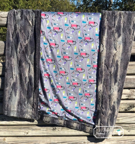 Cactus and Leopard Minky Adult and Baby Sized Blanket by The Handmade Heifer