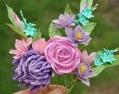 Flower hair pins girls headpiece Bridal floral hair piece pink lavender hair roses Wedding hair pins for bride